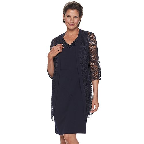 Petite Maya Brooke Lace Duster & Sheath Dress Set