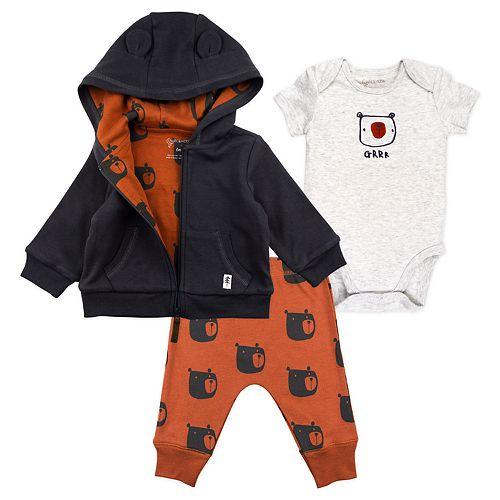 Baby Boy Mac & Moon 3-Piece Hooded Jacket, Short Sleeve Bodysuit and Pants Set
