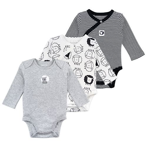 Baby Mac & Moon 3-Pack Sheep Print Long Sleeve Bodysuits
