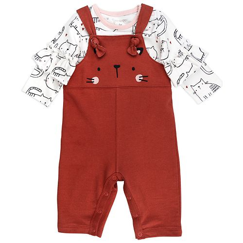 Baby Girl Mac & Moon 2-Piece Long Bell-Sleeved Tee and Brick Red Overalls Set