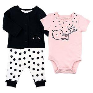 Baby Girl Mac & Moon 3-Piece Black Cardigan, Short Sleeve Pink Bodysuit and Cat Dot Pants Set