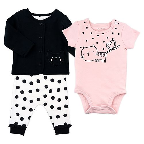 Baby Girl Mac & Moon 3-Piece Black Cardigan, Short Sleeve Pink Bodysuit and Cat Dot Pants Set