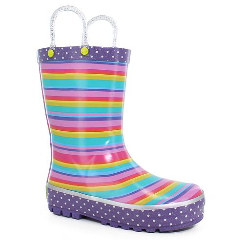 Western Chief Sweet Stripe Girls' Waterproof Rain Boots