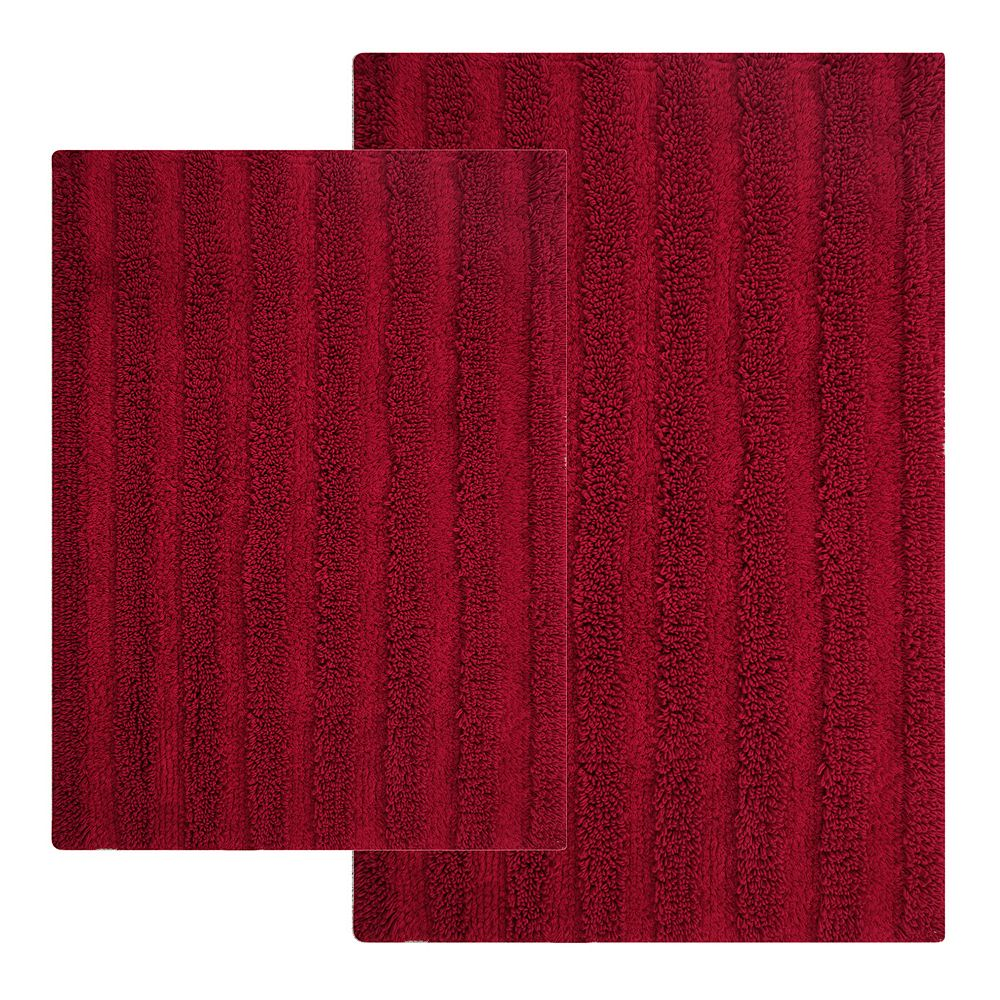Chesapeak Striped Cotton Reversible 2-piece Bath Rug Set