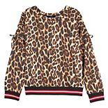 Girls 7-16 IZ Amy Byer Leopard Print Cinched Sleeve Top