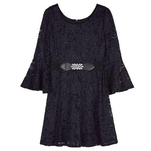 Girls 7-16 IZ Amy Byer Long Lantern Sleeve Scoop Neck with Full Skirt Dress