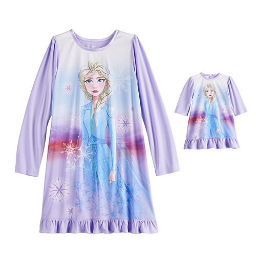 Disney's Frozen 2 Elsa Girls 4-8 Dorm Nightgown & Matching Doll Gown