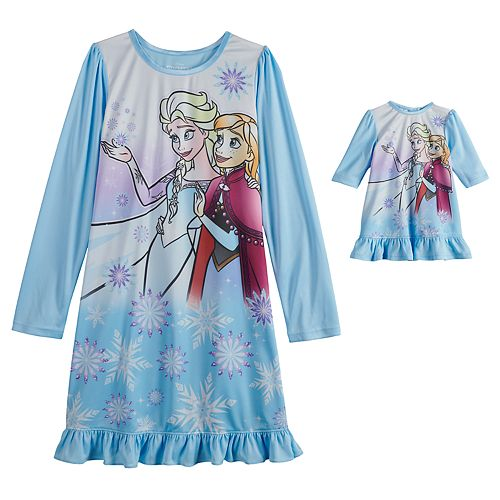 Disney's Frozen Elsa and Anna Girls 4-8 Dorm Nightgown & Doll Nightgown