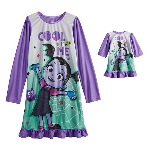 Disney's Vampirina Girl's 4-8 Long Sleeve Dorm Nightgown & Doll Nightgown