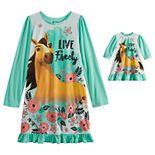 Girls 4-12 DreamWorks Spirit Long Sleeved Nightgown & Matching Doll Nightgown
