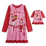 Girls 4-12 Elf on the Shelf Long Sleeved Nightgown & Matching Doll Nightgown