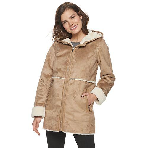 Women's d.e.t.a.i.l.s. Hooded Faux-Shearling Walker Jacket