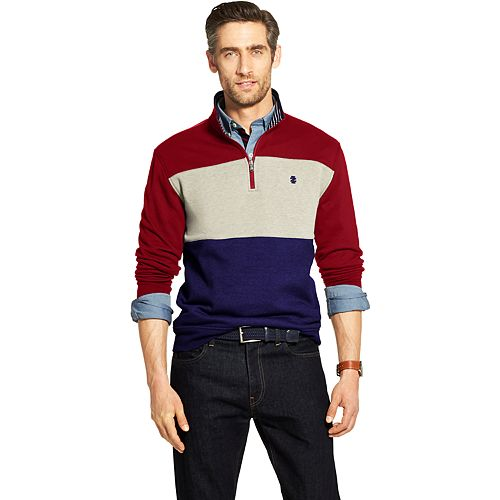 Men's IZOD Advantage SportFlex Colorblock Classic-Fit Performance Fleece Quarter-Zip Pullover