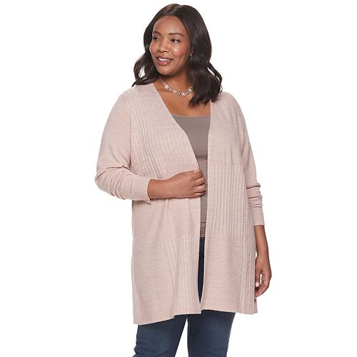 Plus Size Napa Valley Multi Cable Detail Cardigan