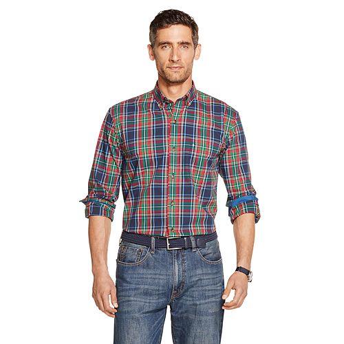 Men's IZOD Tartan Button-Down Long Sleeve Shirt