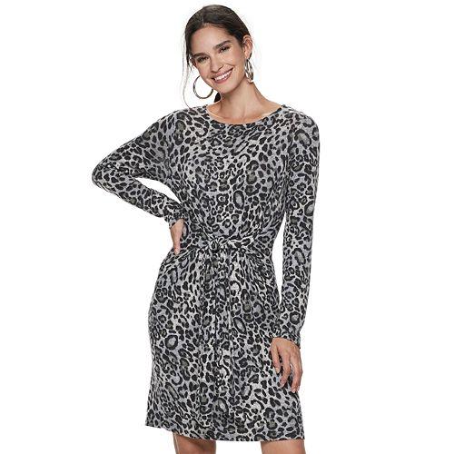 Women's Apt. 9® Knot-Waist Long Sleeve Dress