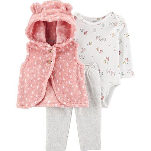 Baby Girl Carter's 3-Piece Woodland Creatures Little Vest Set