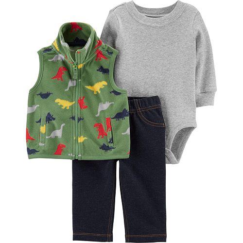 Baby Boy Carter's 3-Piece Dinosaur Little Vest Set