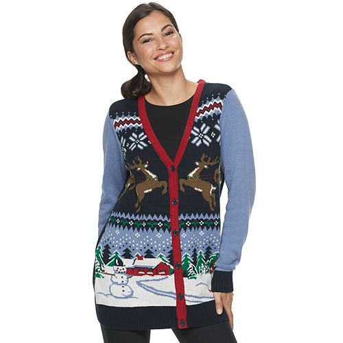 Women's Button-Front Ugly Christmas Sweater