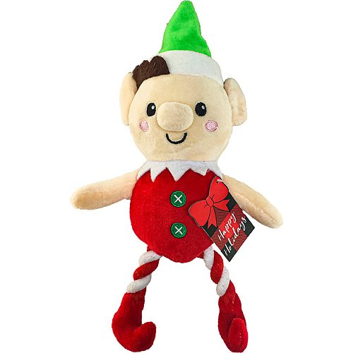 Woof Holiday Elf with Rope Legs Dog Toy