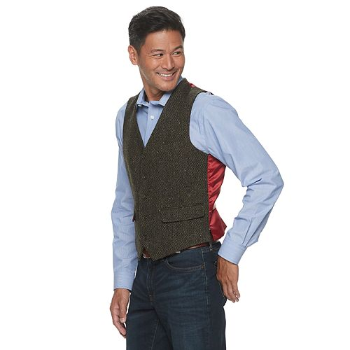 Big & Tall Jean-Paul Germain Wool Irish Tweed Vest
