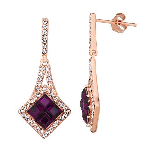 Sterling N' Ice 14k Rose Gold over Sterling Silver Drop Earrings with Swarovski Crystals