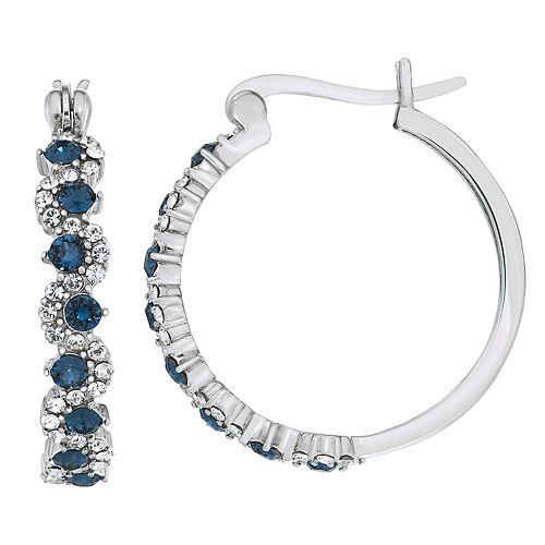 Sterling N' Ice Sterling Silver Hoop Earrings with Swarovski Crystal