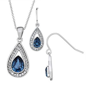 Sterling N' Ice Sterling Silver Pendant Necklace & Earring Set with Swarovski Crystal