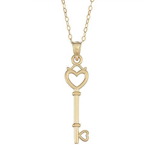 10K Gold Key Heart Pendant Necklace