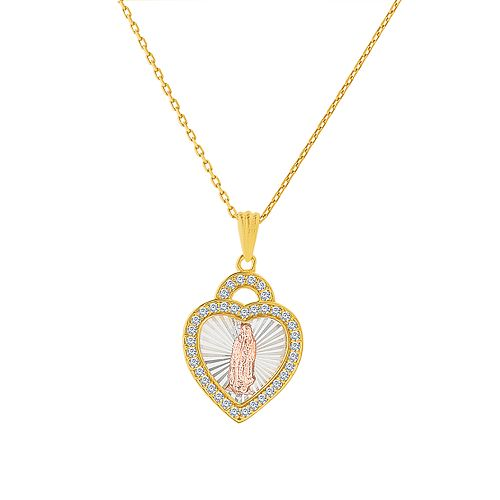 Paige Harper Tri-Tone Virgin Mary Heart Necklace