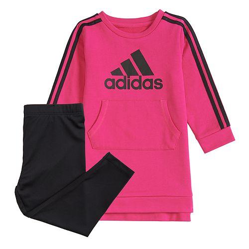 Baby Girl adidas Logo French Terry Dress & Leggings Set