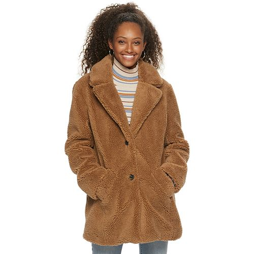 Juniors' Sebby Collection Teddy Sherpa Faux Fur Jacket