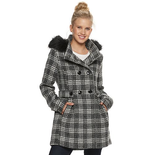 Juniors' IZ Byer Hooded Double Breasted Faux Wool Belted Insert Jacket