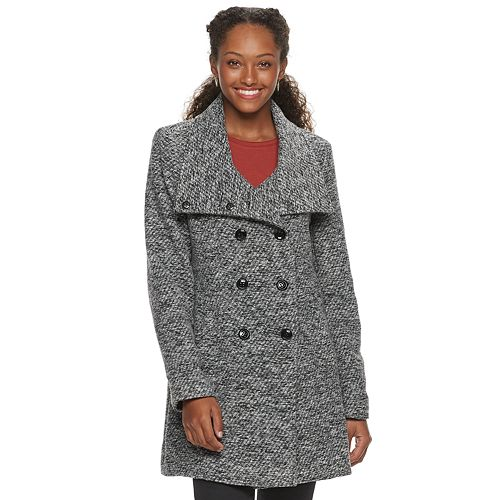 Juniors' IZ Byer Double Breasted Textured Faux Wool Jacket