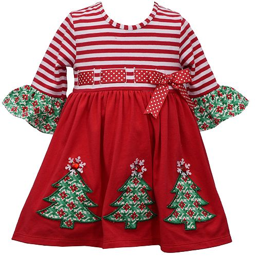 Toddler Girl Bonnie Jean Three Quarter Sleeve Knit Babydoll with Applique Trees