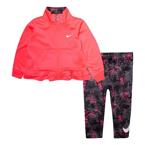 Baby Girl Nike 2-Piece Ruffle Zip Jacket & Printed Leggings Set