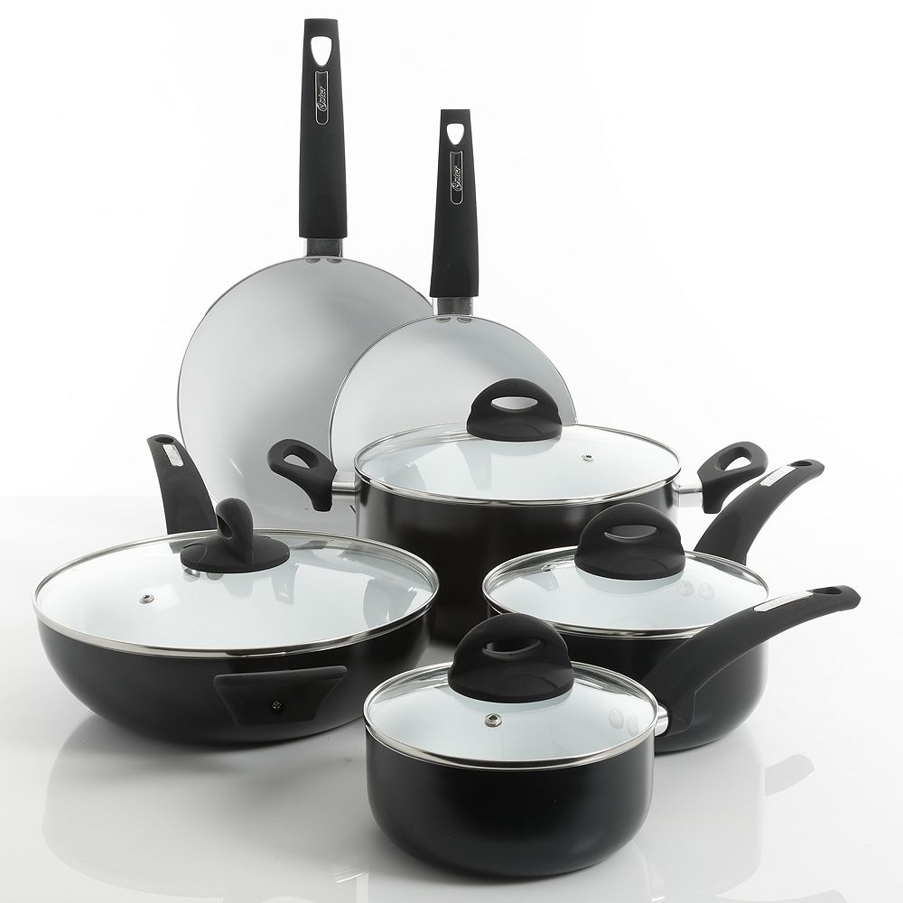 Oster Herstal 10-pc. White Ceramic Interior Cookware Set