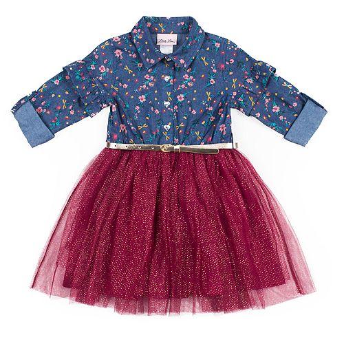 Toddler Girl Little Lass Chambray Tulle Dress