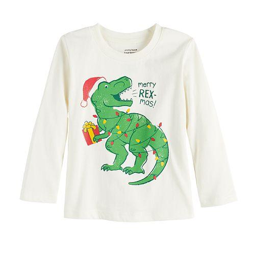 """Toddler Boy Jumping Beans Dinosaur T-Rex """"Merry Rex-mas!"""" Christmas Long-Sleeved Tee"""