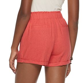 Juniors' SO Super High-Rise Paperbag Shorts