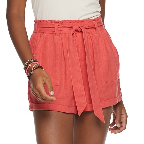 Juniors' SO® Super High-Rise Paperbag Shorts