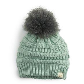 Girl's Slinky Knit Faux Fur Pom Beanie