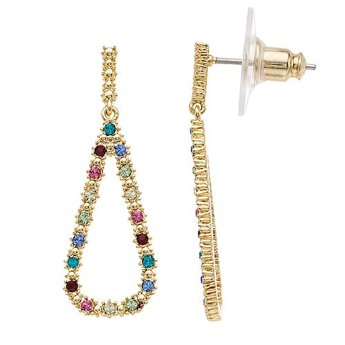 Brilliance Open Round Drop Earrings with Swarovski Crystals