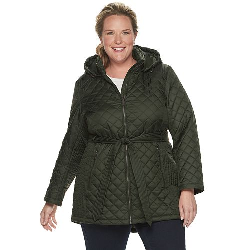 Plus Size TOWER by London Fog Hooded Quilted Jacket