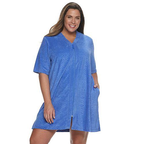 Plus Size Croft & Barrow® Embossed Zip-Front Robe