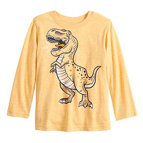 Toddler Boy Jumping Beans® Long-Sleeve Snow Heather T-Rex Graphic Tee