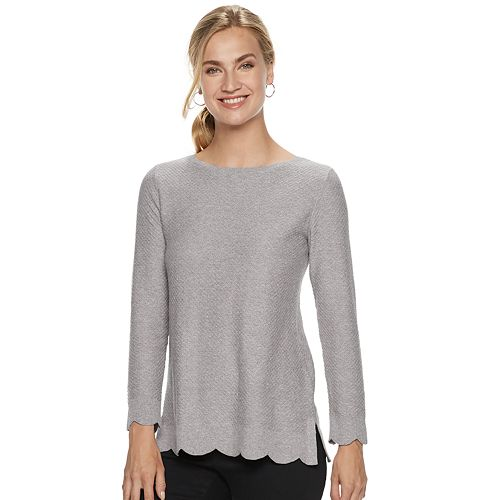 Women's ELLE™ Scallop Hem Tunic Sweater