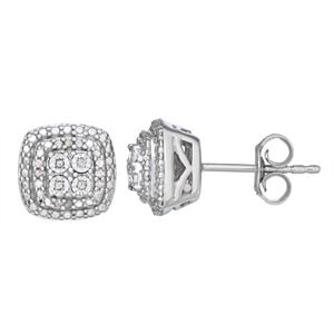 Sterling Silver 1/10 Carat T.W. Diamond Halo Stud Earrings