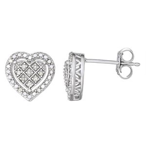 Sterling Silver 1/10 Carat T.W. Diamond Heart Stud Earrings
