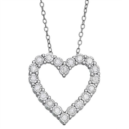 Sterling Silver 1/4 Carat T.W. Diamond Heart Pendant Necklace